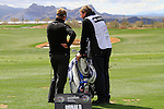 Luke Donald (ENG) and his caddy John McClarren on the practice range before the start of Finals Day 5 of the Accenture Match Play Championship from The Ritz-Carlton Golf Club, Dove Mountain, Sunday 27th February 2011. (Photo Eoin Clarke/golffile.ie)