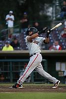 Jose Vizcaino Jr (10) of the San Jose Giants bats against the Inland Empire 66ers at San Manuel Stadium on April 8, 2017 in San Bernardino, California. (Larry Goren/Four Seam Images)
