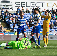Preston North End's Tom Barkhuizen (right) frustrated at not scoring as Reading's Rafael gets to the ball <br /> <br /> Photographer David Horton/CameraSport<br /> <br /> The EFL Sky Bet Championship - Reading v Preston North End - Saturday 19th October 2019 - Madejski Stadium - Reading<br /> <br /> World Copyright © 2019 CameraSport. All rights reserved. 43 Linden Ave. Countesthorpe. Leicester. England. LE8 5PG - Tel: +44 (0) 116 277 4147 - admin@camerasport.com - www.camerasport.com