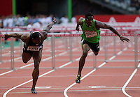 08 JUL 2011 - PARIS, FRA - Dayron Robles (right) beats David Oliver (left) in the men's 110m hurdles at the Meeting Areva round of the Samsung Diamond League (PHOTO (C) NIGEL FARROW)