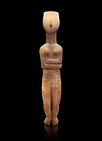 Female Cycladic statue figurine with folded arms of the Spedos and Dokathismata type. Early Cycladic Period II (2800-3200) from Naxos. National Archaeological Museum, Athens. Black background.<br /> <br /> This Cycladic statue figurine is of the Spedos type standing on tip tie with bended knees and arms folded under the breasts with head raiised.