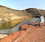Lago Verde green lake black sand beach, El Golfo, Lanzarote, Canary Islands, Spain