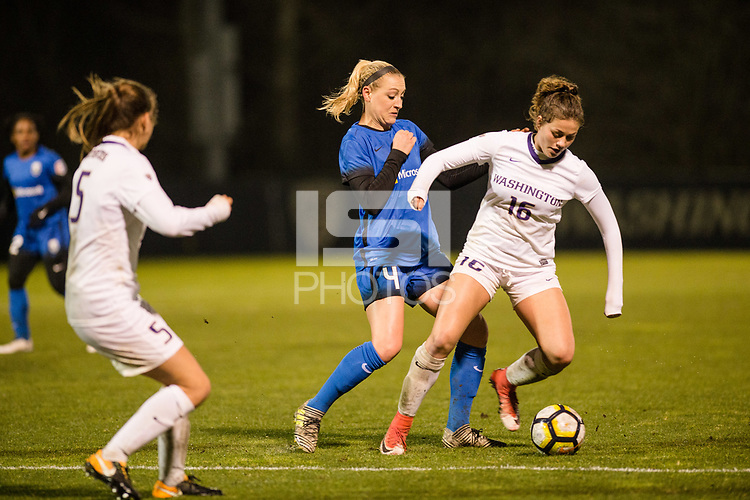 Seattle, WA - Thursday, March, 08, 2018: Megan Oyster during a preseason match between the Seattle Reign FC and University of Washington at Husky Soccer Stadium.