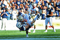 Sept. 19, 2009; Provo, UT, USA; BYU Cougars wide receiver (29) Luke Ashworth is tackled by Florida State Seminoles cornerback (21) Patrick Robinson at LaVell Edwards Stadium. Florida State defeated BYU 54-28. Mandatory Credit: Mark J. Rebilas-