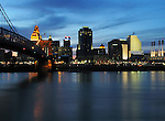 Evening view of downtown Cincinnati, Ohio and the Ohio River.