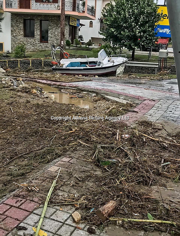Pictured: A boat has washed ashore in Nikiti Chalkidikis, northern Greece. Wednesday 27 June 2018<br /> Re: Flashflooding has been caused by storm Nefeli in parts of Greece.
