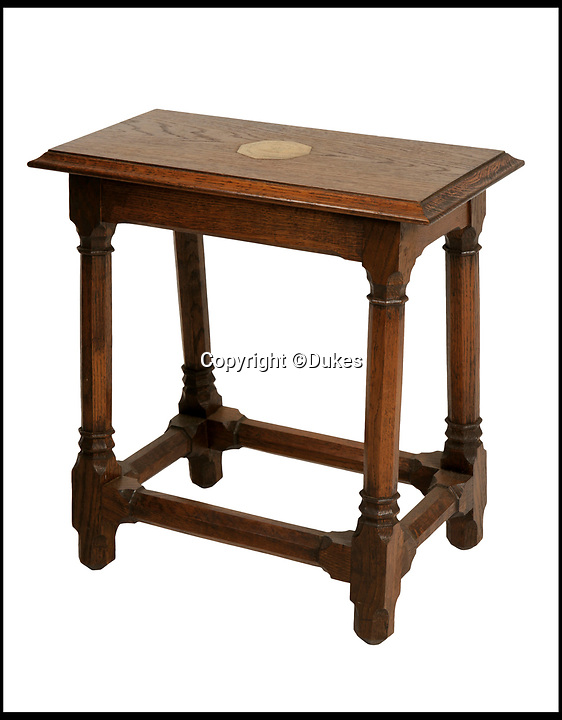 BNPS.co.uk (01202 558833)<br /> Pic: Dukes/BNPS<br /> <br /> An oak 'Joined' stall, inset with a brass plaque, estimated £200.<br /> <br /> The collection of an influential politician who helped bring Thatcher to power is going under the hammer and expected to fetch more than £86,000.<br /> <br /> More than 100 items owned by the late Sir Edward du Cann, including a rare maquette of Winston Churchill worth £50,000, have been put up for sale by his family with Duke's of Dorchester in Dorset following his death last year.<br /> <br /> Sir Edward was an MP for 31 years and the longest serving chairman of the powerful 1922 committee, where he was instrumental in bringing Margaret Thatcher to power in 1979, and his name was never far from the front pages of the national newspapers in the 1960s and 70s.<br /> <br /> Among the items being sold are several bronze sculptures of Prime Ministers Winston Churchill, Margaret Thatcher and Clement Atlee.<br /> <br /> The collection will be sold in the Dorchester saleroom on September 6.