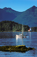Fishing boat and Rockwell lighthouse, Sitka Sound, Inside passage, Sitka, Alaska