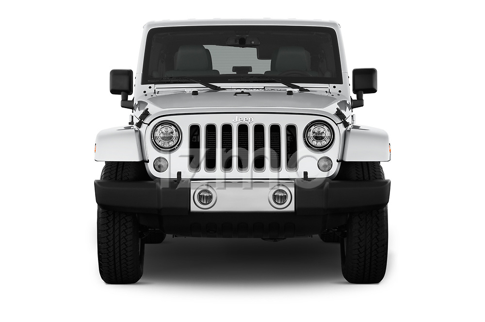 Car photography straight front view of a 2017 JEEP Wrangler-Unlimited Sahara 5 Door SUV Front View