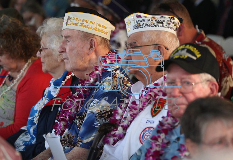Hundreds of people attended the 71st Anniversary Pearl Harbor Day Commemoration at the Pearl Harbor Visitor Center in Honolulu, HI on, Dec. 7, 2012. .Photo by Cathleen Allison