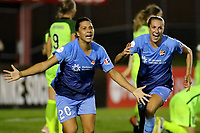 Piscataway, NJ - Saturday August 19, 2017: Samantha Kerr, Sarah Killion during a regular season National Women's Soccer League (NWSL) match between Sky Blue FC and the Seattle Reign FC at Yurcak Field.