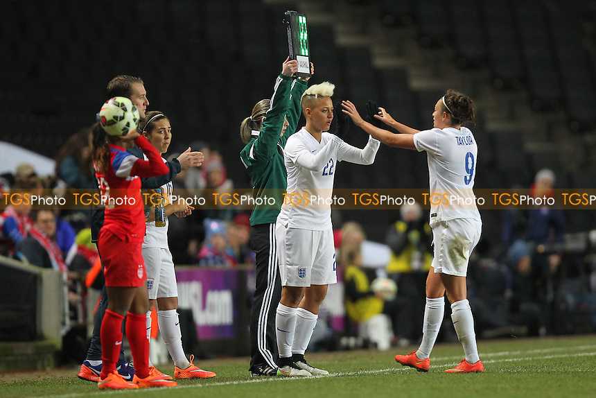 Lianne Sanderson replaces Jodie Taylor of England - England Women vs USA Women - International Football Friendly Match at Stadium MK, Milton Keynes Dons FC - 13/02/15 - MANDATORY CREDIT: Gavin Ellis/TGSPHOTO - Self billing applies where appropriate - contact@tgsphoto.co.uk - NO UNPAID USE