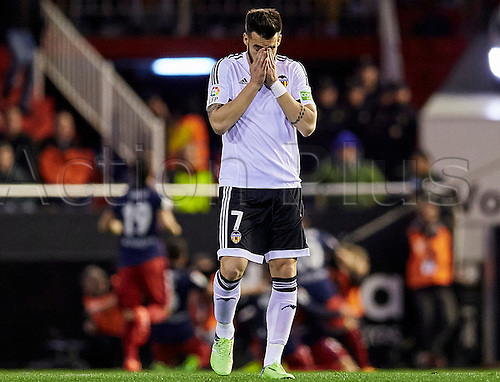 06.03.2016. Mestalla Stadium, Valencia, Spain. La Liga match between Valencia versus Atletico Madrid.  Forward Alvaro Negredo of Valencia CF reacts dejectedly to an Athletico goal