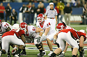 January 5th, 2008:  Rutgers quarterback Mike Teel (14) makes calls as he prepares for the snap from center Ryan Blaszczyk (61) during the third quarter of the International Bowl at the Rogers Centre in Toronto, Ontario Canada...Rutgers defeated Ball State 52-30.  ..Photo By:  Mike Janes Photography