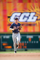 GCL Twins center fielder Tyler Webb (11) jogs back to the dugout during the first game of a doubleheader against the GCL Orioles on August 1, 2018 at CenturyLink Sports Complex Fields in Fort Myers, Florida.  GCL Twins defeated GCL Orioles 7-6 in the completion of a suspended game originally started on July 31st, 2018.  (Mike Janes/Four Seam Images)