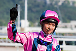 Jockey Victor Wong riding #4 Land Grant celebrates after winning the race 6 during Hong Kong Racing at Sha Tin Racecourse on October 01, 2018 in Hong Kong, Hong Kong. Photo by Yu Chun Christopher Wong / Power Sport Images
