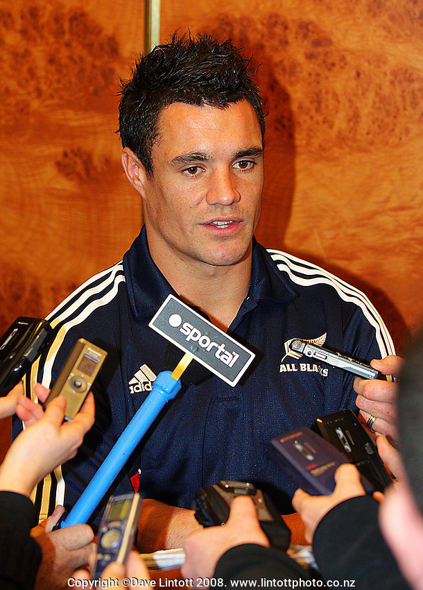 Dan Carter during the All Blacks Media Session at the Intercontinental Hotel, Wellington, New Zealand on Wednesday 4 June 2008. Photo: Dave Lintott / lintottphoto.co.nz