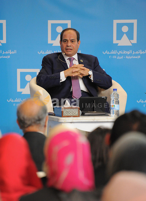 Egyptian President Abdel Fattah al-Sisi, speaks during the Third Youth Conference, in Ismailia, Egypt, on April 26, 2017. Photo by Egyptian President Office