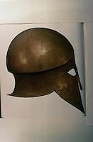 Greek Arms:  Corinthian Helmut , 6th C. B.C.  Found in Sicily.  Munich Glypothek Museum.
