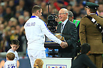 Sir Bobby Charlton presents Wayne Rooney of England with his 100th cap - England vs. Slovenia - UEFA Euro 2016 Qualifying - Wembley Stadium - London - 15/11/2014 Pic Philip Oldham/Sportimage