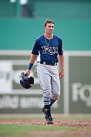 GCL Rays first baseman Russ Olive (24) walks back to the dugout during a game against the GCL Red Sox on August 1, 2018 at JetBlue Park in Fort Myers, Florida.  GCL Red Sox defeated GCL Rays 5-1 in a rain shortened game.  (Mike Janes/Four Seam Images)