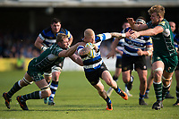 Tom Homer of Bath Rugby takes on the London Irish defence. Aviva Premiership match, between Bath Rugby and London Irish on May 5, 2018 at the Recreation Ground in Bath, England. Photo by: Patrick Khachfe / Onside Images
