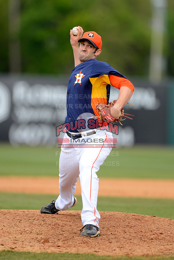 Houston Astros pitcher Josh Zeid #81 during a Spring Training game against the St. Louis Cardinals at Osceola County Stadium on March 1, 2013 in Kissimmee, Florida.  The game ended in a tie at 8-8.  (Mike Janes/Four Seam Images)