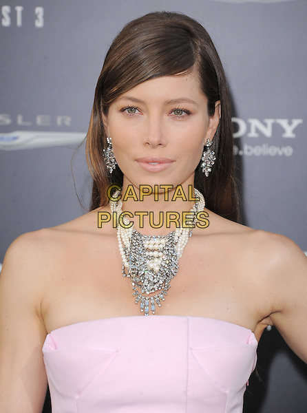 Jessica Biel.Premiere of 'Total Recall' held at The Grauman's Chinese Theatre in Hollywood, California, USA..August 1st, 2012.headshot portrait pink strapless white silver necklace pearls earrings .CAP/RKE/DVS.©DVS/RockinExposures/Capital Pictures.