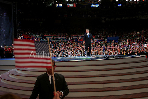 New York, New York<br /> USA<br /> September 2, 2004<br /> <br /> The Republican National Convention in Madison Square Garden.<br /> <br /> US President George W. Bush addresses the crowd.