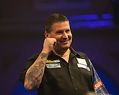 04.01.2015.  London, England.  William Hill PDC World Darts Championship.  Finals Night.  Gary Anderson (4) [SCO] interacts with the crowd during his game with Phil Taylor (2) [ENG]