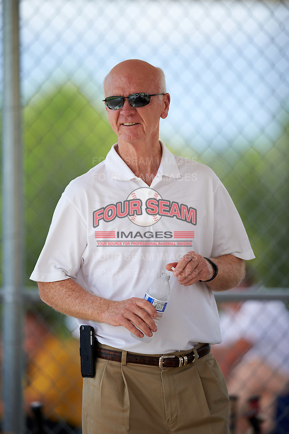 Former Minnesota Twins General Manger Terry Ryan visits the field during an Instructional League game against the Boston Red Sox on September 24, 2016 at CenturyLink Sports Complex in Fort Myers, Florida.  (Mike Janes/Four Seam Images)