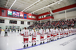 A general view of LaBahn Arena as the Wisconsin Badgers line up during the National Anthem prior to opening night against the Bemidji State Beavers at the LaBahn Arena Friday, October 19, 2012 in Madison, Wis. (Photo by David Stluka)