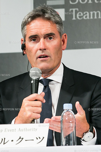 Russell Coutts, CEO of the America's Cup Event Authority speaks during a news conference on June 1, 2016, Tokyo, Japan. The American's Cup Event Authority, Fukuoka City, Japan SoftBank Group Corp. (SBG) and the JSAF announced that the ninth race of the the Louis Vuitton America's Cup World Series (LVACWS) will be held in Fukuoka, the fifth largest city in Japan, from November 18 to 20, 2016. Fukuoka will be the first city to host the LVACWS in Asia since the competition started in 1851. The race is part of the qualifiers for the 35th America's Cup 2017. (Photo by Rodrigo Reyes Marin/AFLO)