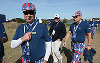 Brexit fans during Saturday's Fourballs, at the Ryder Cup, Le Golf National, &Icirc;le-de-France, France. 29/09/2018.<br /> Picture David Lloyd / Golffile.ie<br /> <br /> All photo usage must carry mandatory copyright credit (&copy; Golffile | David Lloyd)