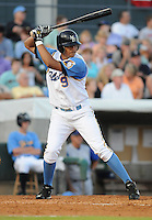 July 7, 2008: Outfielder Concepcion Rodriguez (9) of the Myrtle Beach Pelicans, Class A affiliate of the Atlanta Braves, in a game against the Wilmington Blue Rocks at BB&T Coastal Field in Myrtle Beach, S.C. Photo by:  Tom Priddy/Four Seam Image