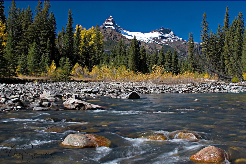 The Clark's Fork river flows year round past the iconic Pilot and Index peaks in Park County, Wyoming.