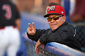 Batavia Muckdogs hitting coach Luis Quinones (19) mugs for the camera during a game against the Williamsport Crosscutters on September 3, 2016 at Dwyer Stadium in Batavia, New York.  Williamsport defeated Batavia 10-0. (Mike Janes/Four Seam Images)