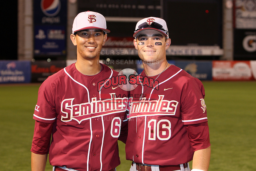 """Florida State Seminoles Sean O'Brien #6 and Jayce Boyd #16 after a game vs. the Florida Gators in the """"Florida Four"""" at George M. Steinbrenner Field in Tampa, Florida;  March 1, 2011.  Florida State defeated Florida 5-3.  Photo By Mike Janes/Four Seam Images"""