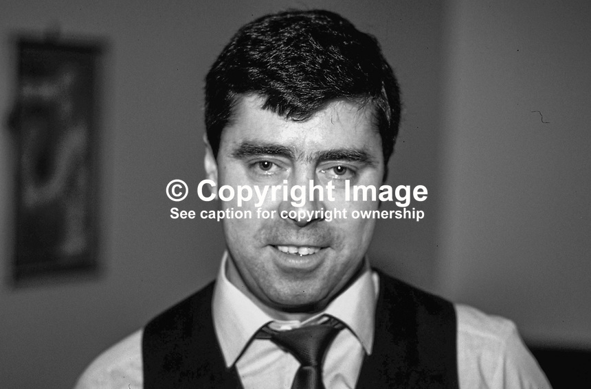 Patsy Fagan, Dublin, Rep of Ireland, snooker player, professional, 198705211PF.<br /> <br /> Copyright Image from Victor Patterson,<br /> 54 Dorchester Park, <br /> Belfast, UK, BT9 <br /> <br /> t1: +44 28 9066 1296 (from Rep of Ireland 048 90661296)<br /> t2: +44 28 9002 2446 (from Rep of Ireland 048 9002 2446)<br /> <br /> m: +44 7802 353836<br /> <br /> e: victorpatterson@me.com<br /> www.victorpatterson.com<br /> <br /> Please see my Terms and Conditions of Use at www.victorpatterson.com. It is IMPORTANT that you familiarise yourself with them.<br /> <br /> Images used on the Internet must be visibly watermarked i.e. &copy; Victor Patterson<br /> within the body of the image and copyright metadata must not be deleted. Images <br /> used on the Internet have a size restriction of 4kbs and will be chargeable at current<br />  NUJ rates unless agreed otherwise.<br /> <br /> This image is only available for the use of the download recipient i.e. television station, newspaper, magazine, book publisher, etc, and must not be passed on to any third <br /> party. It is also downloaded on condition that each and every usage is notified within 7 days to victorpatterson@me.com<br /> <br /> The right of Victor Patterson to be identified as the author is asserted in accordance with The Copyright Designs And Patents Act (1988). All moral rights are asserted.