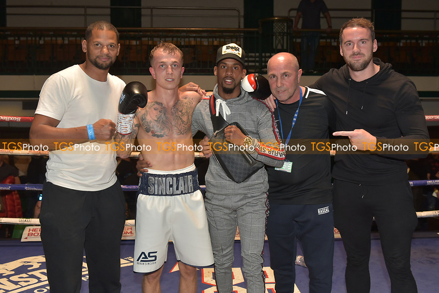 Aaron Sinclair (white shorts) defeats Samuil Dimitrov during a Boxing Show at York Hall on 6th October 2018