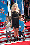 Ashlee Simpson with her son and his friend arriving at the World Premiere of Planes held at El Capitan Theatre in Los Angeles, Ca. August 5, 2013.