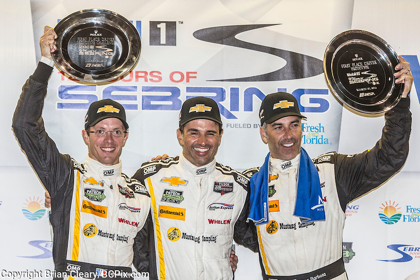 Winners,  Sebastien Bourdais, Christian Fittipaldi, Joao Barbosa, 12 Hours of Sebring, Sebring International Raceway, Sebring, FL, March 2015.  (Photo by Brian Cleary/ www.bcpix.com )