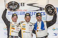 Winners,  Sebastien Bourdais, Christian Fittipaldi, Joao Barbosa, 12 Hours of Sebring, Sebring International Raceway, Sebring, FL, March 2015.  (Photo by Brian Cleary/ www.bcpix.com )