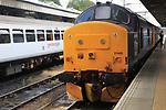 Direct Rail Services Class 37405 locomotive train at station platform, Norwich, Norfolk, England, UK