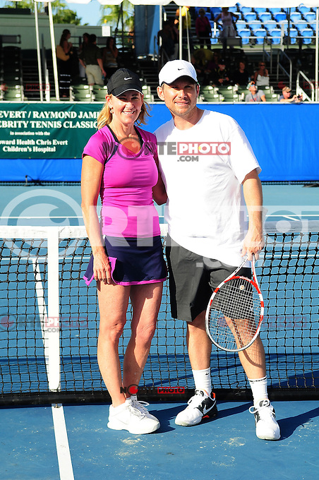 DELRAY BEACH, FL - NOVEMBER 13: Chris Evert and Christian Slater attends the Chris Evert/Raymond James Pro-Celebrity Tennis Classic at Delray Beach Tennis Center on November 13, 2011 in Delray Beach, Florida. (photo by: MPI10/MediaPunch Inc.)
