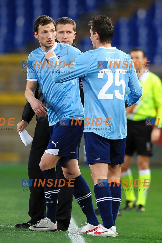 """Libor Kozak, Miroslav Klose Lazio.Roma 26/2/2012 Stadio """"Olimpico"""".Football Calcio 2011/2012 Serie A.Lazio Vs Fiorentina.Foto Insidefoto Andrea Staccioli"""