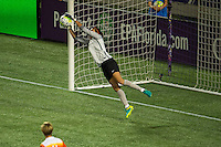 Orlando, FL - Thursday June 23, 2016: Lydia Williams makes a save during a regular season National Women's Soccer League (NWSL) match between the Orlando Pride and the Houston Dash at Camping World Stadium.