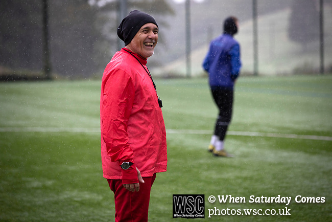 Former Argentina international footballer Pedro Pasculli, pictured during a training session with Bangor City where he was appointed  manager in October, 2019. This was the 1986 World Cup winner's 13th management position, having previously been in charge of the Albania and Uganda national teams as well as a host of clubs worldwide. Bangor City competed in the Cymru Alliance, the second tier of Welsh football having been demoted due to financial irregularities at the end of the 2017-18 season. The club was owned by a consortium involving the Vaughan familial but was bought by Italian Domenico Serafino and a group of investors in September 2019.