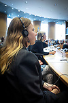 BRUSSELS - BELGIUM - 08 October 2019 -- Student Sara Murto visiting the European Parliament and in the listening room during the hearing of commissioner M. Vestager -- PHOTO: Juha ROININEN / EUP-IMAGES