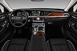 Stock photo of straight dashboard view of 2017 Genesis G90 Ultimate 4 Door Sedan Dashboard